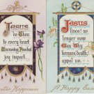 "Lot of 2 Tuck Postcards Jesus  ""EASTER BANNER"" Antique Posted"