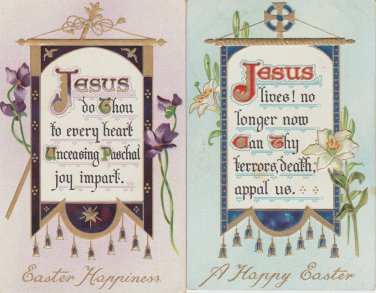 "Lot of 2 Tuck Postcards Jesus  ""EASTER BANNER"" Antique Posted"