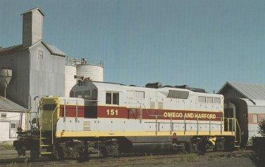 OWEGO AND HARFORD RAILWAY GMD GP9 UNIT #151 Postcard Railroad Train