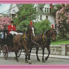 Carriage and Lilacs Postcard Horses Mackinac Island