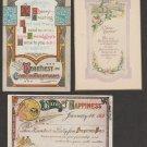 Lot of 3 Vintage Postcards Birthday Friendship