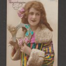 Lovely Lady RPPC Tinted Post Card Antique German New Year Greetings