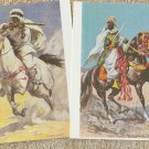 ARABIAN HORSE ART  POST CARDS Lot of 2 Horsemen Bedouin Riders Warriors