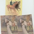 Lot of 3 Postcards HORSES LADIES SIDESADDLE  Chrome Unused Art