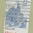 U.S. Bicentenary Stamp 22c Massachusetts Scott #2341 1988 Used