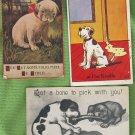 Three Vintage Antiqu Humorous Dogs Postcards