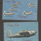 Keep 'em Flying Vintage Airplanes Aviation Post Cards Military Lot of Two