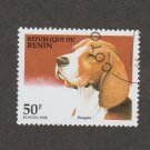 Beagle Postage Stamp Dog Art 1995 Republic du Benin