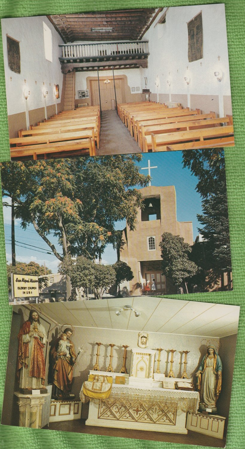 NEW MEXICO POST CARDS SAN MIGUEL MISSION CHURCH SANTA FE Lot of 7