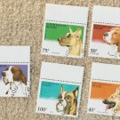 Lot of 5 Dog Postage Stamps Canine Miniature Art