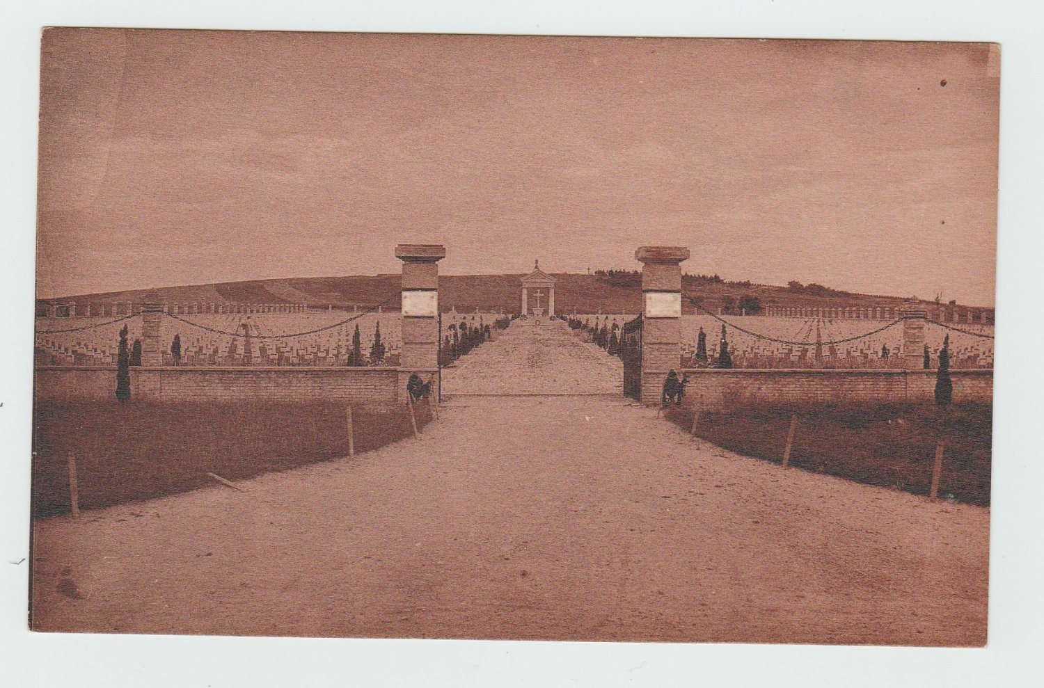 Bligny (Marne) Cemetery Tinted Antique Postcard France Italien