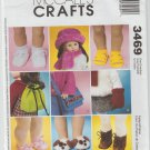 McCall's Crafts 3469 Sewing Pattern for 18 Inch Doll Hat, Shoes, Backpack, Bag