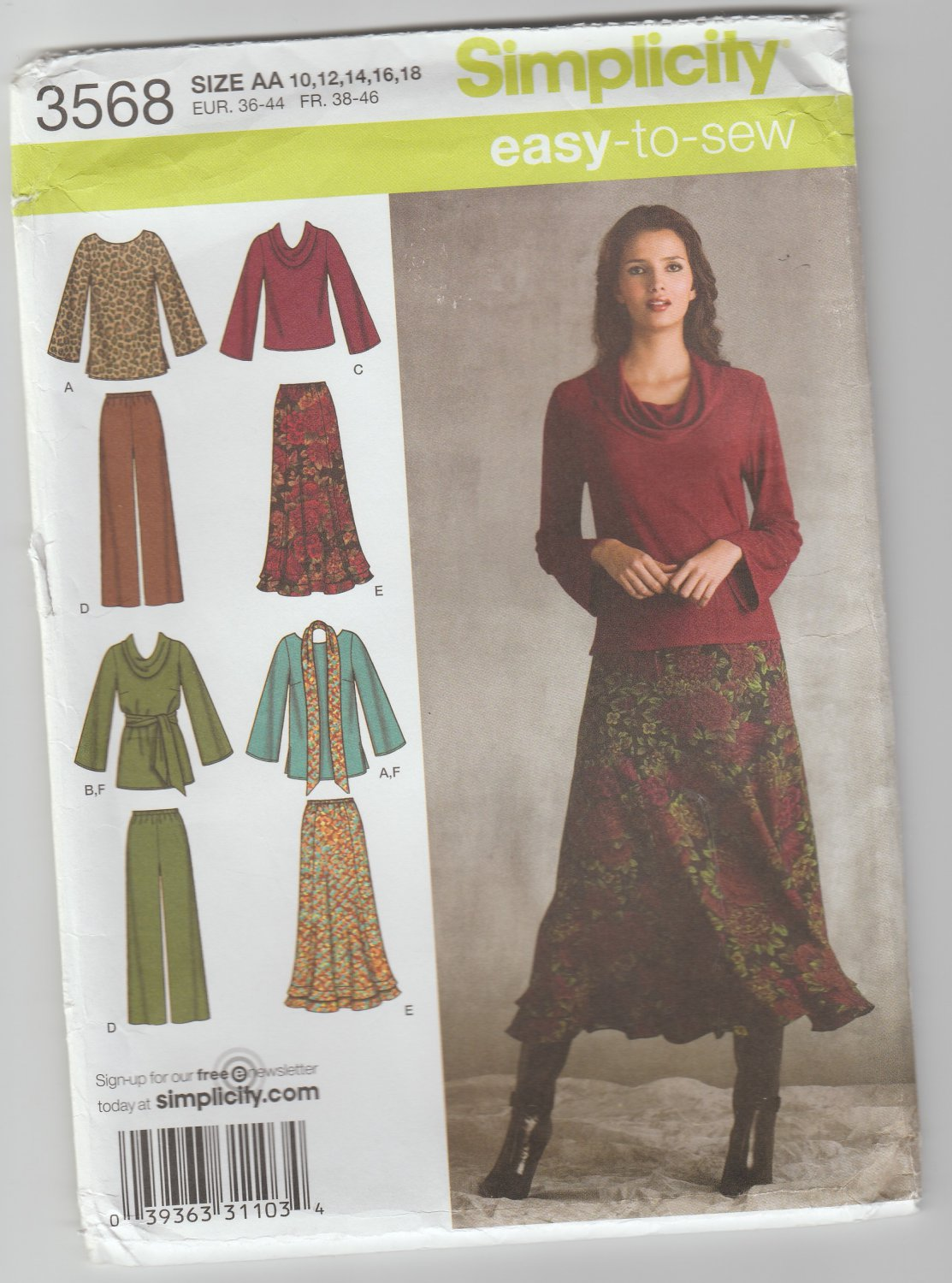 Simplicity 3568 Easy To Sew Patterns Skirt, Top, Sash Size AA 10-18