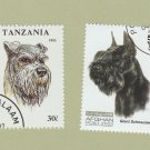 Two Schnauzer Dog Stamps Art Head Study