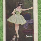 Vintage Postcard PRETTY WOMAN BALLERINA LADY WITH CAT
