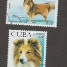Two Shetland Sheepdog Postage Stamps Canine Art