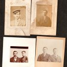 Four Antique Miniature Photo Portraits on Mounted Boards Young Men, Man and Woman