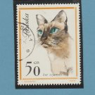 Siamese Cat Stamp, Poland, Polska, Feline, Animal, Miniature Art
