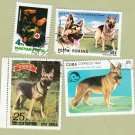 Lot of 4 GERMAN SHEPHERD Postage Stamps Miniature Dog Art Portraits