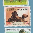 Dachshunds Postage Stamps Canine Dog Miniature Art International Collection