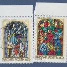 STAINED GLASS WINDOWS Magyar Posta Postage Stamps Set of Two