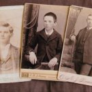 Three Victorian Antique Cabinet Cards Portraits, Young Men, Boys