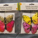 Colorful Artificial Butterflies Decoration 3D Lot of 4 Party, Wedding, Crafts