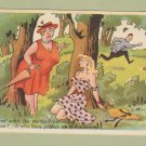 French Humor Comic Vintage Cartoon Postcard Risque Man Running Into Woods