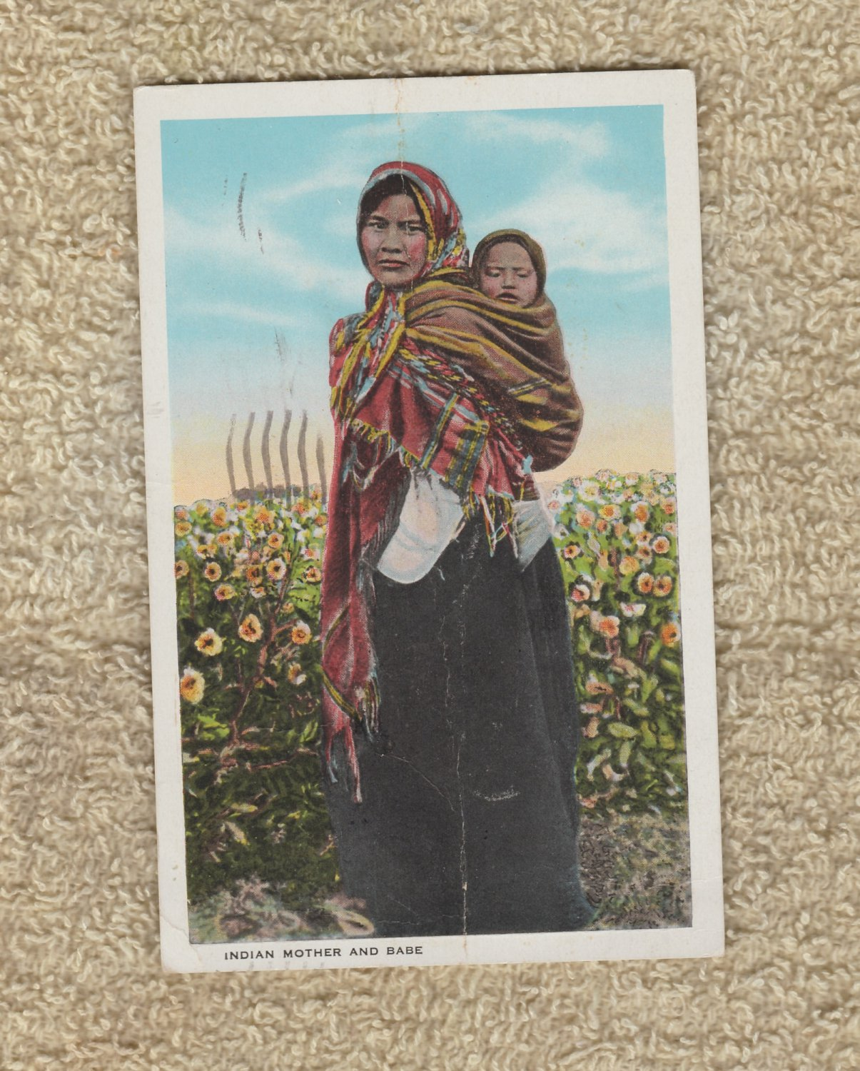 Vintage Postcard Indian Mother and Child Native American