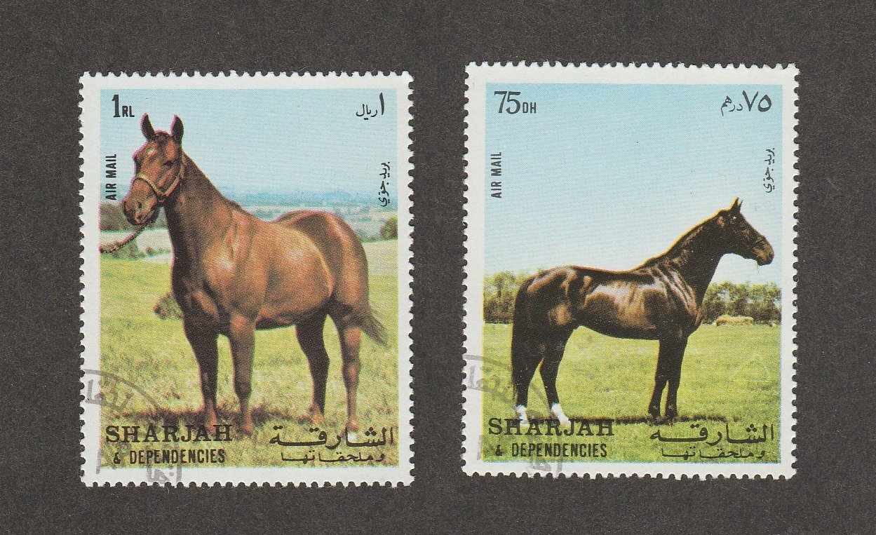 Sharjah Photo Postal Stamps HORSES 1972 Air Mail Equine