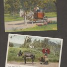 Donkeys and Carts Postcards Lot of 2 Vintage