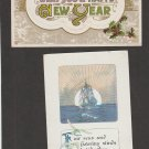 Two Happy New Year Vintage Antique Postcards Embossed