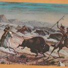 Jumbo Postcard BUFFALO BILL On Buffalo Hunt Old West Miniature Art