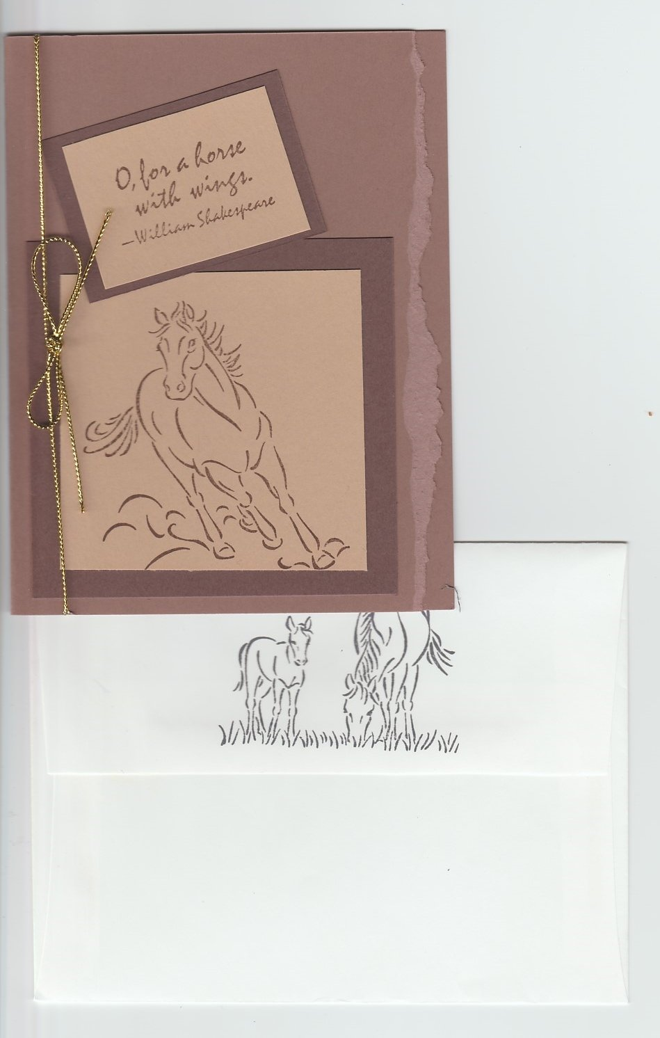 Running Horse Blank Greeting Card Handmade Note