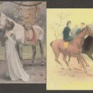 Ladies Sidesaddle Horses Postcards Equestrienne Lot of 2