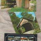 VERMONT COVERED BRIDGES Historic Color Postcards Chrome
