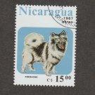 Keeshond Postage Stamp Nicaragua VF CTO Canine Dog Art