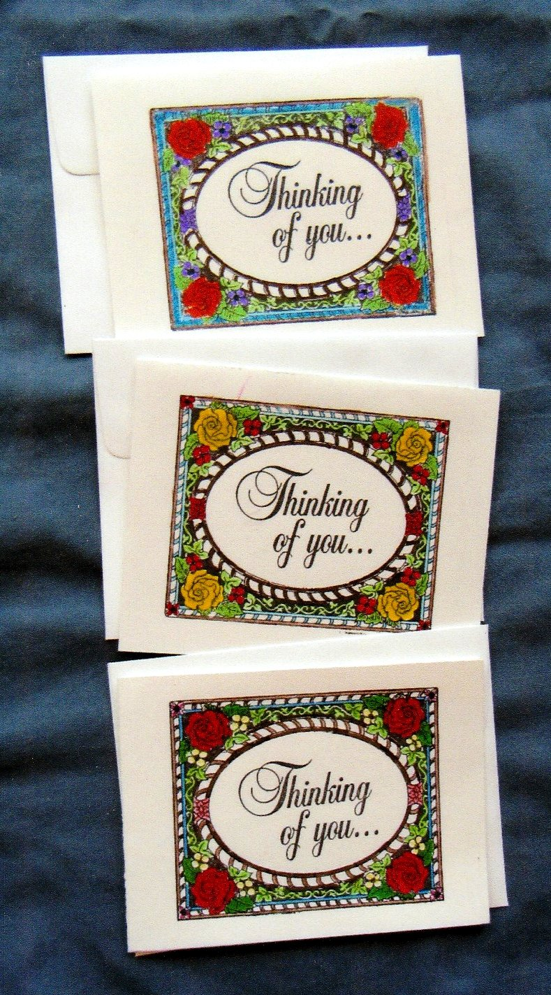 Thinking of You Set of 3 Blank Handmade Note / Greeting Cards, Floral, Roses