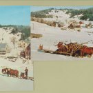 Winter Scene VERMONT Two Postcards Horses Hauling Logs