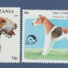 Wire-Haired Fox Terrier Lot of 2 Postage Stamps Miniature Canine / Dog Art