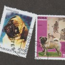 Two Pug Stamps Dog Art Caribbean Benin Used