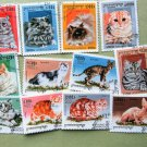 Cats Kittens Postage Stamps Cambodia Miniature Art