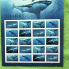 Sharks Postage Stamps MT Pane U.S. 45c Commemoratives