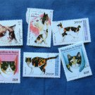 6 Calico Cats Postage Stamps, Africa, Afghanistan, Portraits, Miniature Art