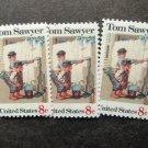 Tom Sawyer Set of Three Postage Stamps Folklore Rockwell Miniature Art