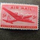 U.S. Air Mail Postage Stamp Airplane flight 5c DC - 4 Skymaster