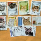 Worldwide Cat Postage Stamps Miniature Art Lot of Ten Used Collection