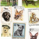 DOGS/PUPPIES, Postage Stamps, Assortment, Canines, Miniature Art