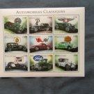 Classic Automobiles Postage Stamps, Souvenir Pane of 9, Chrysler, Model T, Corvette