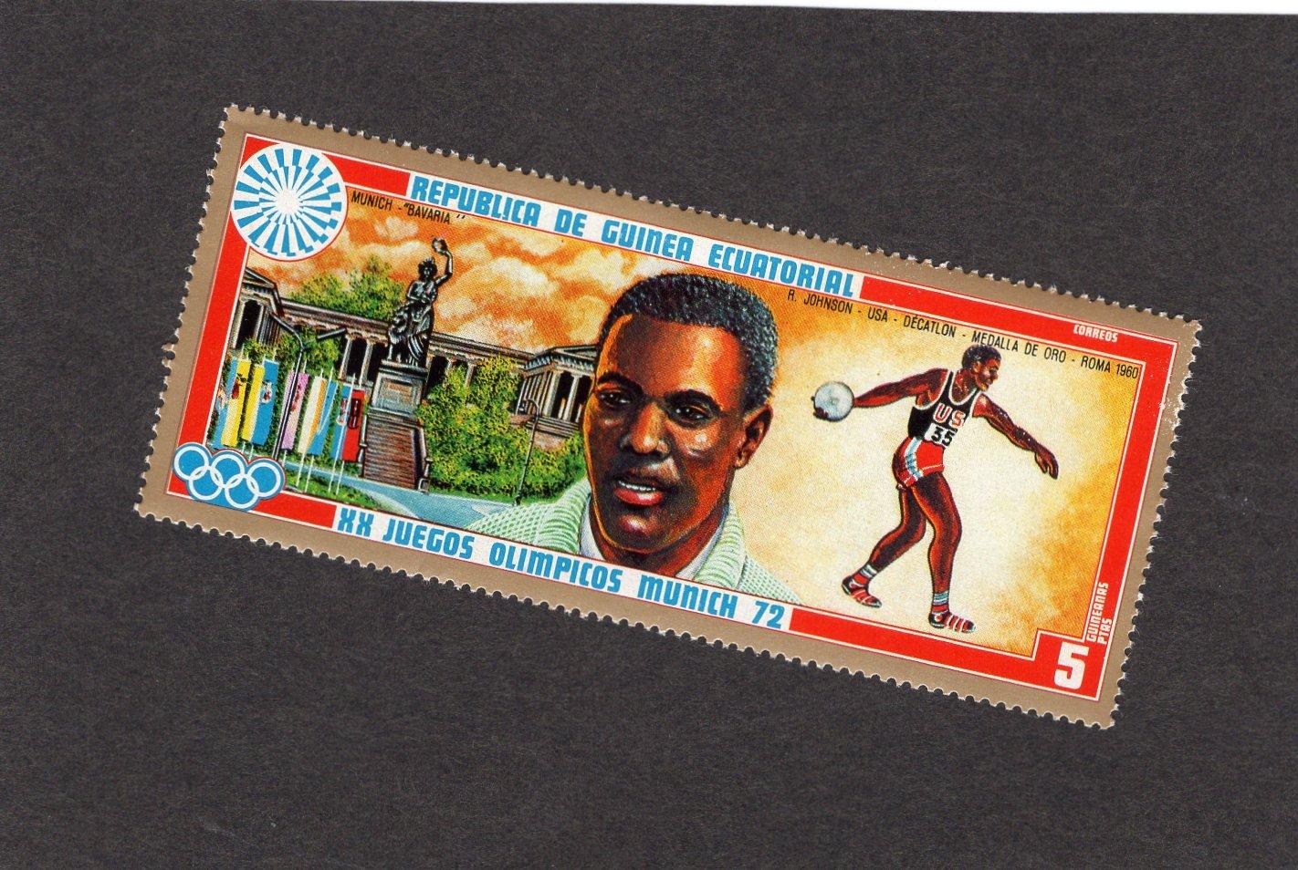 Discus Thrower, Postage Stamp, Equatorial de Guinea, Decathlon, Munich Olympics